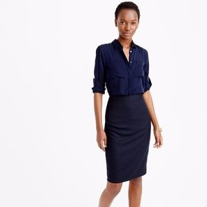 J.Crew Pinstriped Wool Suiting Pencil Skirt
